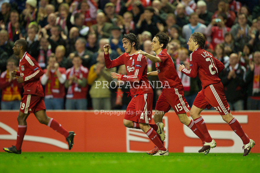 LIVERPOOL, ENGLAND - Thursday, April 29, 2010: Liverpool's Alberto Aquilani celebrates with team-mate Yossi Benayoun after scoring the opening goal against Club Atletico de Madrid during the UEFA Europa League Semi-Final 2nd Leg match at Anfield. (Photo by: David Rawcliffe/Propaganda)