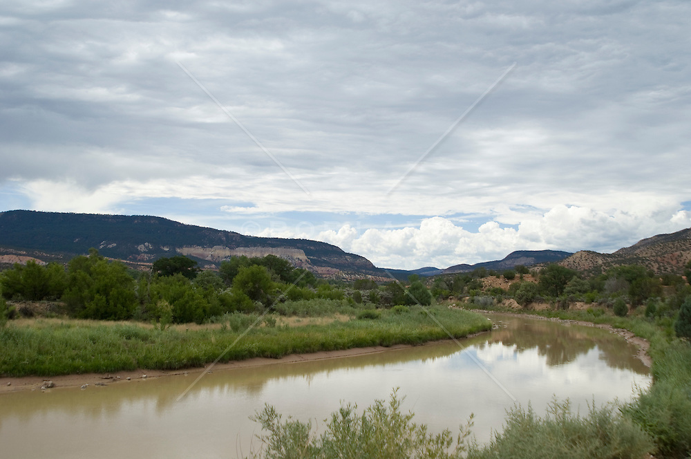 Calm waters of the Rio Grande River in New Mexico
