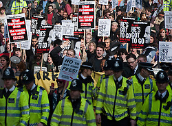 ©  London News Pictures. 14/03/2012. London, UK.  Students and union members march through London on March 14th, 2012 to demonstrate against the growing cost of higher education. The walkout demonstration is part of a week of action to show high tuition fees, hidden course costs and a lack of bursaries are pricing students out of education. Photo credit : Ben Cawthra/LNP