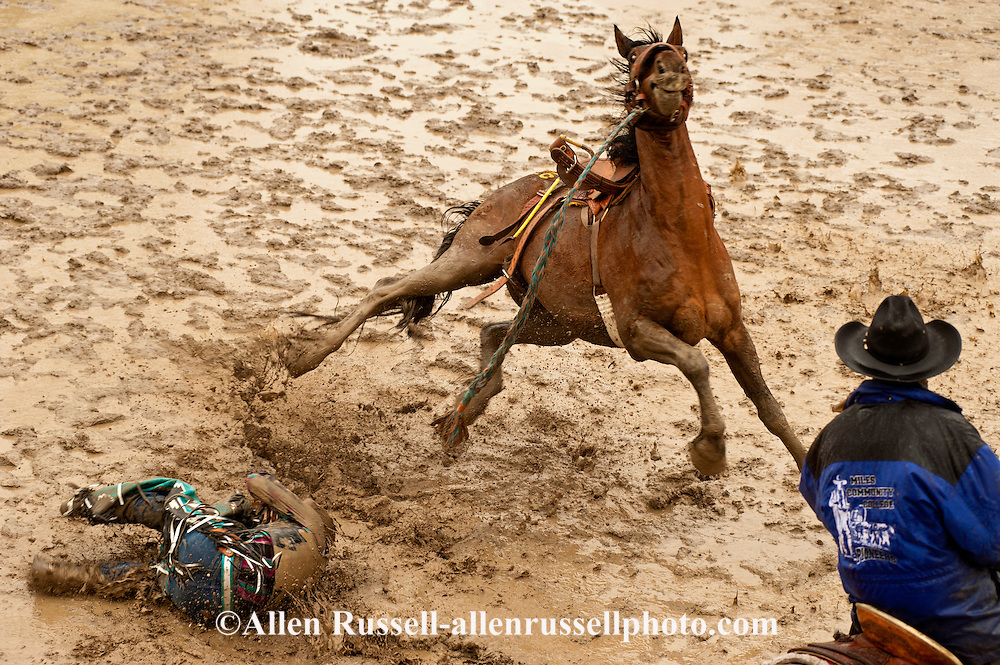 Saddle Bronc rider bucked off in mud at Miles City Bucking ...