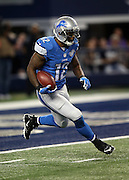 Detroit Lions kick returner Jeremy Ross (12) returns a fourth quarter kick during the NFL week 18 NFC Wild Card postseason football game against the Dallas Cowboys on Sunday, Jan. 4, 2015 in Arlington, Texas. The Cowboys won the game 24-20. ©Paul Anthony Spinelli