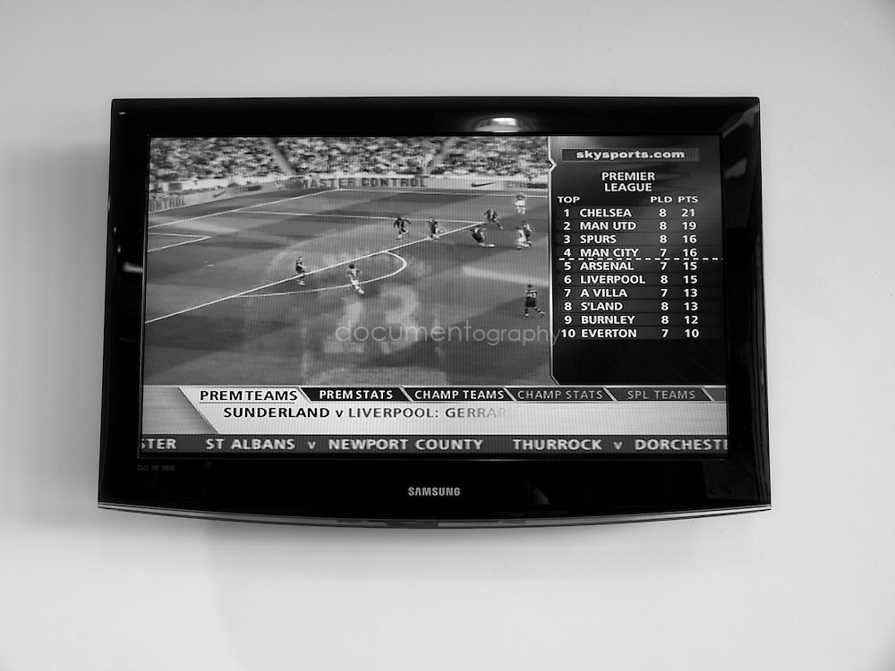A TV showing the football hightlight of the week in the newly developed Conservatory cafe near Anfield...OLYMPUS DIGITAL CAMERA