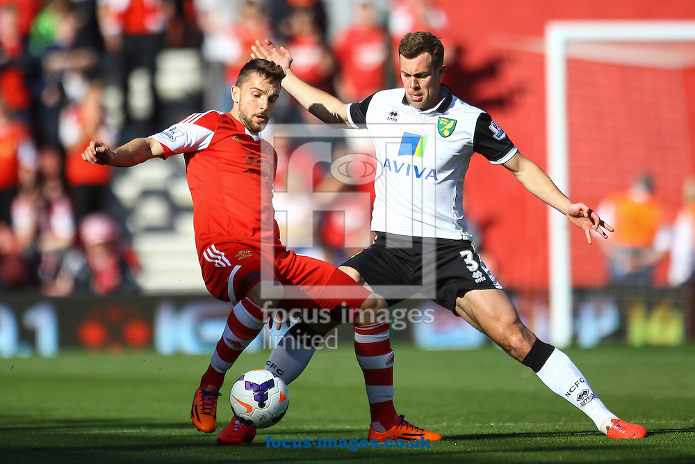 Steven Whittaker of Norwich City and Jay Rodriguez of Southampton compete for the ball during the Barclays Premier League match at the St Mary's Stadium, Southampton<br /> Picture by Daniel Chesterton/Focus Images Ltd +44 7966 018899<br /> 15/03/2014