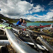 Heather and Jay Goodrich take a self-portrait at Lost Lake near Seward, Alaska.