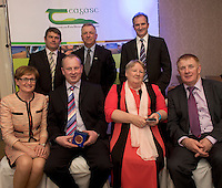 Peter Young IFJ, Prof Gerry Boyle, Director Teagasc, David Small, DARDNI and seated MEP Mairead McGuinness Neil Crossan Living Green (Finalist), Marie Kelly, and John Concannon JFC at the JFC Innovation awards sponsored by Teagasc, DARD Northern Ireland and the Irish Farmers Journal at the Claregalway Hotel. Photo:Andrew Downes