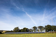 The 100kW solar array built by WREN, working together with South West Water, to power Nanstallon Sewage Treatment Works. WREN community energy. Wadebridge, Cornwall. UK