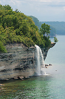 Spray Falls' impressive 70 foot drop into Lake Superior.<br /> Pictured Rocks National Lakeshore,<br /> Michigan's Upper Peninsula
