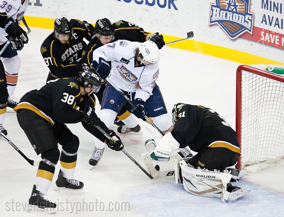 January 28, 2011: The Oklahoma City Barons play the Texas Stars in an American Hockey League game at the Cox Convention Center in Oklahoma City.