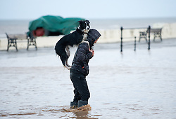 © Licensed to London News Pictures. 27/01/2013..Cleveland, England, UK..Following the recent snowfall a fast thaw through the night brought heavy flooding to some parts of Cleveland and North Yorkshire with many roads closed...A dogs best friend, Sam Davis carries his dog Meg across a flooded road in Saltburn...Photo credit : Ian Forsyth/LNP
