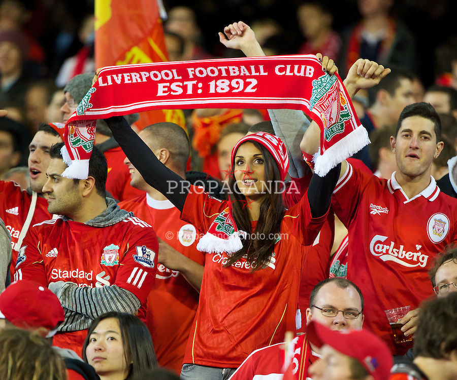 MELBOURNE, AUSTRALIA - Wednesday, July 24, 2013: Liverpool supporters against Melbourne Victory during a preseason friendly match at the Melbourne Cricket Ground. (Pic by David Rawcliffe/Propaganda)