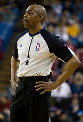 February 28, 2010; Sacramento, CA, USA;  NBA official Tom Washington during the first quarter of the game between the Sacramento Kings and Los Angeles Clippers at the ARCO Arena.  Sacramento defeated Los Angeles 97-92.
