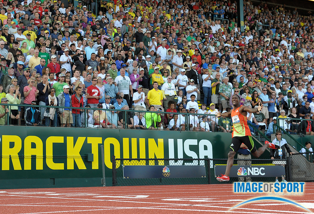 Jul 1, 2012; Eugene, OR, USA; Michael Tinsley reacts after winning the 400m hurdles in 48.33 during the 2012 U.S. Olympic Team Trials at Hayward Field. Mandatory Credit: Kirby Lee/Image of Sport-US PRESSWIRE