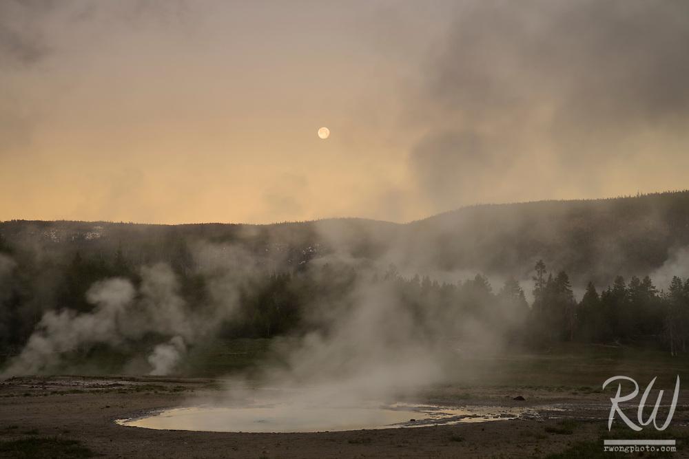 Upper Geyser Basin Sunrise & Full Moon, Yellowstone National Park, Wyoming