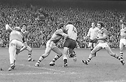 Kerry attacks Dublin player in front of the goalmouth in an attempt to grab the ball from him during the All Ireland Senior Gaelic Football Final Dublin v Kerry in Croke Park on the 26th September 1976. Dublin 3-08 Kerry 0-10.