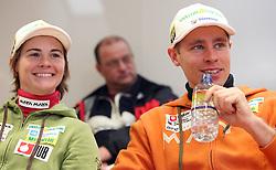 Andreja Mali and Gregor Brvar at the press conference of Slovenian biathlon team before the World Chamionship in Sweden, ÷stersund, in Ljubljana on February 5, 2008. (Photo by Vid Ponikvar / Sportal Images).