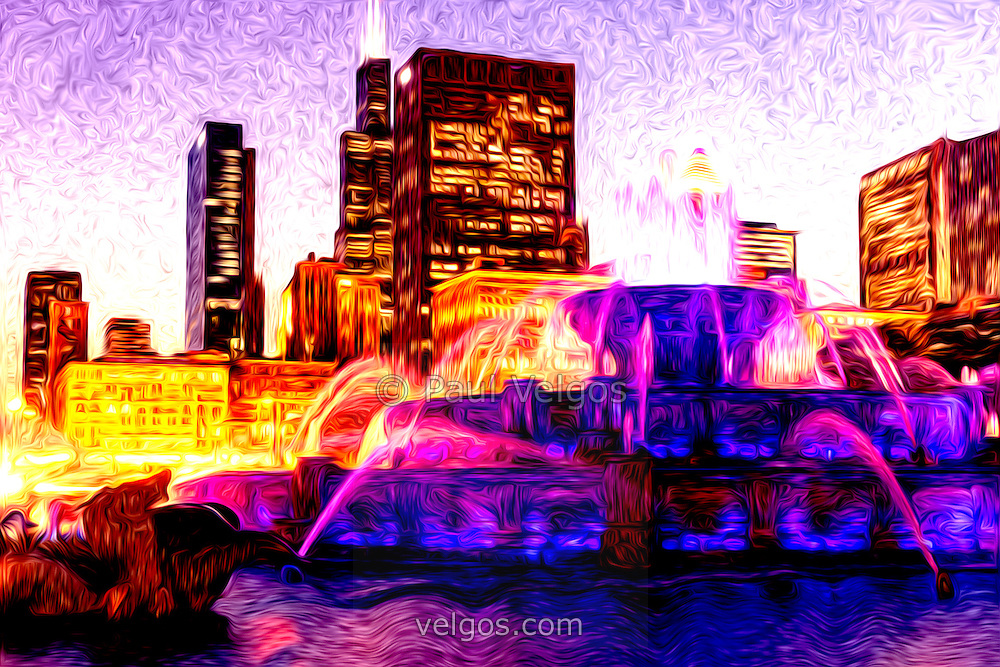 Digital paitning of Buckingham Fountain at night and Chicago skyline with Willis Tower skyscraper (Sears Tower). The Clarence F. Buckingham Memorial Fountain is a Chicago landmark and very popular attraction located in Grant Park in the downtown Chicago Loop.