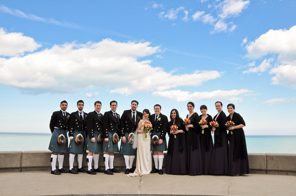 Kathleen & Brendan's Bridal Party in front of Lake Michigan, Madonna della Strada Chapel, Loyola University Chicago