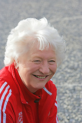 Dame Mary Peter, who won Gold in the 1972 Munich Games will be given of the Freedom of the City of Belfast next month. Mary said 'Sadly it is a myth that being given the Freedom of the City entitles me to graze sheep on the front lawn of City Hall, but that has not stopped us today' Dame Mary joked. These days the title is purely honorary but that does not detract in any way from this being the highest possible civic honour. 'I am absolutely thrilled that this ceremony is being planned for the evening of 8 May and that the daytime will include a packed programme of activity for local young people' Lord Mayor, Alderman Gavin Robinson, paid tribute to Dame Mary and hailed her commitment and dedication as an example to all, Belfast, Northern Ireland, Sunday April 28, 2013. Photo by : Paul McErlane / i-Images