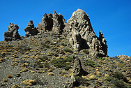 Volcanic Rock formations, Teide National Park, Tenerife. the park is centred around Mount Teide, the highest mountain in Spain and the third largest volcano in the World (measured from its base).