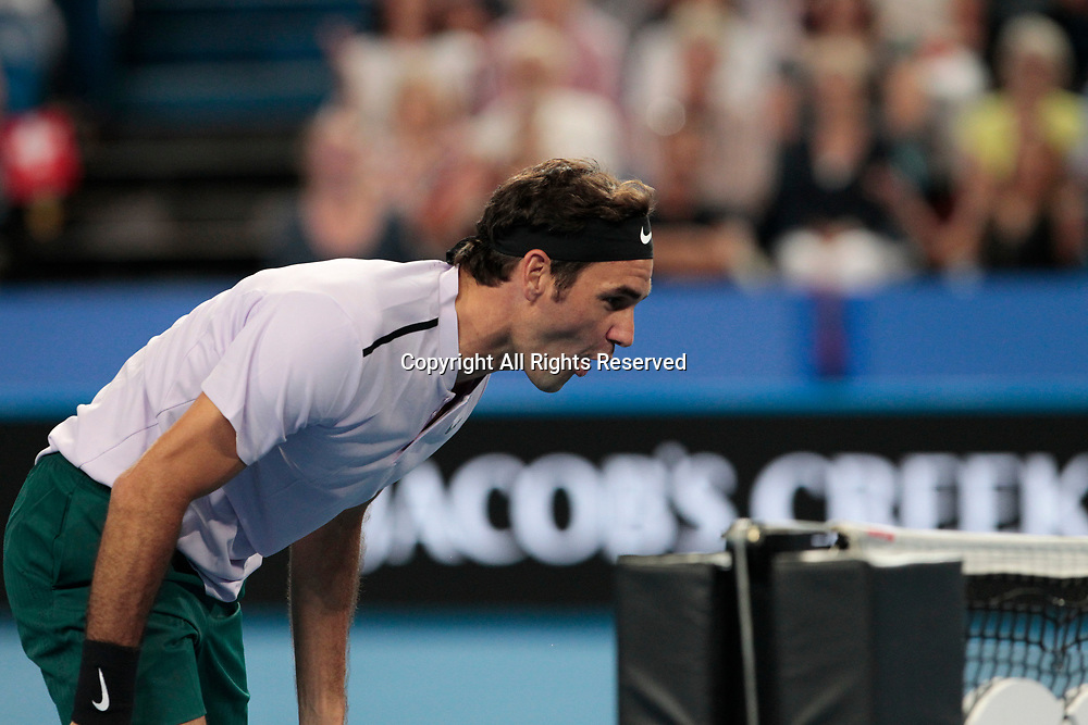 6th January 2018, Perth Arena, Perth, Australia; MasterCard Hopman Cup Tennis Final; Roger Federer of Team Switzerland wills the ball over the net during the mixed doubles Final won by Switzerland 2 sets to 0