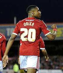 Swindon Town's Jonathan Obika celebrates his goal - Photo mandatory by-line: Dougie Allward/JMP - Mobile: 07966 386802 - 11/05/2015 - SPORT - Football - Swindon - County Ground - Swindon Town v Sheffield United - Sky Bet League One - Play-Off