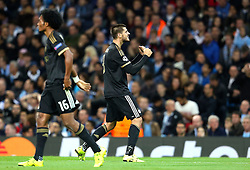 Alvaro Morata of Juventus celebrates after scoring his sides second goal for 1-2 during the UEFA Champions League group stage match between Manchester City and Juventus at the Etihad Stadium - Mandatory byline: Matt McNulty/JMP - 07966386802 - 15/09/2015 - FOOTBALL - Etihad Stadium -Manchester,England - Manchester City v Juventus - UEFA Champions League - Group D