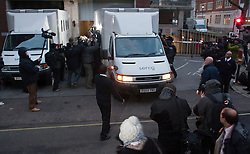 © under license to London News Pictures. 07/12/2010 . After failing to make bail, a van carrying wikileaks founder Julian Assange leaves Westminster Magistrates court. Credit should read Matt Cetti-Roberts/London News Pictures