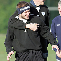 St Johnstone Training...11.11.05<br /> Kevin Rytkiewicz and Kevin James messing around in training this morning before tommorrow's derby game against Dundee.<br /> Picture by Graeme Hart.<br /> Copyright Perthshire Picture Agency<br /> Tel: 01738 623350  Mobile: 07990 594431