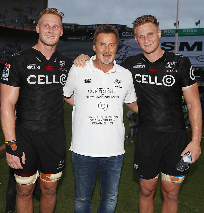 Jean-Luc du Preez with Robert du Preez (Head Coach) of the Cell C Sharks and Daniel du Preez of the Cell C Sharks during the Super Rugby match between the Cell C Sharks and the Jaguares  April 8th 2017 - at Growthpoint Kings Park,Durban South Africa Photo by (Steve Haag Sports)
