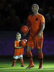 (L-R) Xess Xava, Wesley Sneijder of Holland during the International friendly match match between The Netherlands and Peru at the Johan Cruijff Arena on September 06, 2018 in Amsterdam, The Netherlands