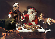 Funny Photos of Santa Claus Invading Famous Works of Art<br /> <br /> <br /> It's a quirk of the modern world that may have some of the artists turning in their grave.<br /> But one photographer has been giving their materpieces a distinctly festive feel with a touch of digital trickery.<br /> Ed Wheeler has spent the last few years taking self-portraits while dressed as Santa Claus - and inserting them into famous paintings.<br /> The Philadelphia-based artist has a collection of dozens of such adaptations with Father Christmas carefully placed on canvases by Botticelli, Monet, Coolidge and Caravaggio among others.<br /> <br /> An introduction on the website Santa Classics, which promotes his collection, says: 'Often Santa replaces a main figure in a painting, sometimes he is added to a group composition or may even be the single human presence in a landscape.<br /> ©Ed Wheeler/Exclusivepix Media