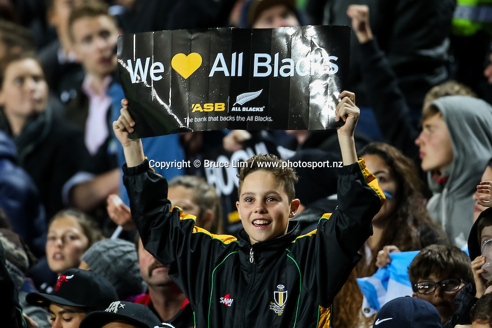 All Blacks fan during Round 3 of the Rugby Championship - New Zealand All Blacks v Argentina Pumas.  FMG Stadium Waikato, Hamilton, New Zealand. Saturday 10 September 2016. © Copyright Photo: Bruce Lim / www.Photosport.nz