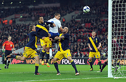 15.11.2011, Wembley Stadium, London, ENG, FSP, England (ENG) vs Schweden (SWE), im Bild England's Jack Rodwell heads against the post against Sweden // during the international friendlies football match between England (ENG) and Sweden (SWE) at Wembley Stadium, London, United Kingdom on 15/11/2011. EXPA Pictures © 2011, PhotoCredit: EXPA/ Sportida/ Chris Brunskill..***** ATTENTION - OUT OF ENG, GBR, UK *****