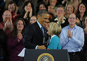 US President Barack Obama greets preschool intervention teacher Mary McMahon before he speaks at the City of Decatur Recreation Center in Decatur, Georgia, USA, 14 February 2013. Obama was promoting the proposals mentioned in his State of Union speech, including preschool education.