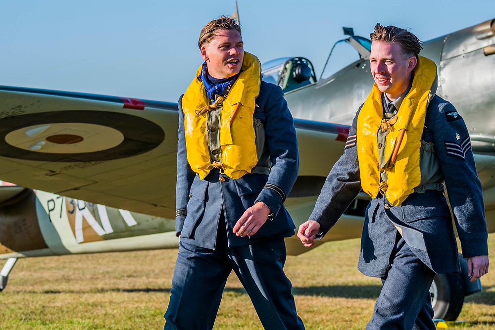 The Spirit of Britain, living history group dressed up as RAF pilots and the Women's Auxiliary Air Force on the flight line - Duxford Battle of Britain Air Show at the Imperial War Museum. Also commemorating the 50th anniversary of the 1969 Battle of Britain film. It runs on Saturday 21 & Sunday 22 September 2019