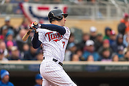 Joe Mauer #7 of the Minnesota Twins went 2 for 4 against the Kansas City Royals on April 13, 2014 at Target Field in Minneapolis, Minnesota.  The Twins defeated the Royals 4 to 3.  Photo by Ben Krause