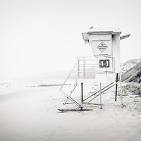 Crystal Cove Lifeguard Tower 11 black and white picture. Crystal Cove State Park is along the Pacific Ocean in Laguna Beach, Orange County, California.