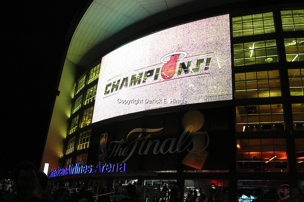 Jun 21, 2012; Miami, FL, USA; General view of the American Airlines Arena after the Miami Heat won the 2012 NBA championship. Miami won 121-106. Mandatory Credit: Derick E. Hingle-US PRESSWIRE
