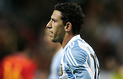 Argentina's Maxi Rodriguez reacts during the international friendly match between Spain and Argentina in Madrid, Spain on November 14 2009.