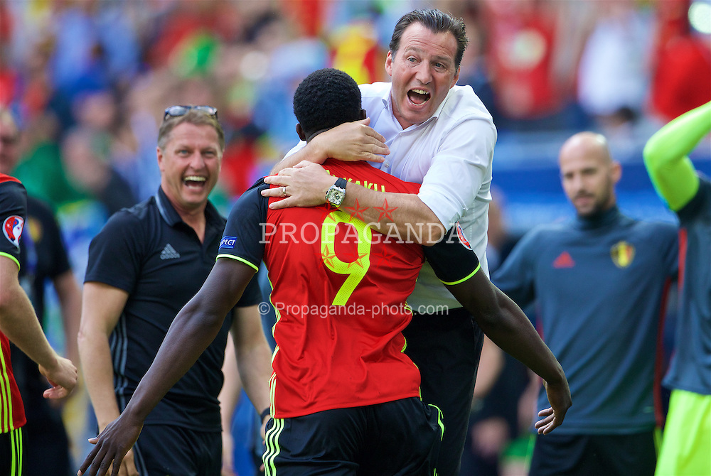 BORDEAUX, FRANCE - Saturday, June 18, 2016: Belgium's Romelu Lukaku celebrates scoring his first goal with Belgium manager Marc Wilmots to make the score 1-0 during the UEFA Euro 2016 Championship Group E match against the Republic of Ireland at Stade de Bordeaux. (Pic by Paul Greenwood/Propaganda)