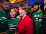 03 FEBRUARY 2020 - DES MOINES, IOWA: US Senator AMY KLOBUCHAR (D-MN) walks through the crowd on her way out of the ballroom during her caucus night party at the downtown Marriott Hotel in Des Moines. The party was her last Iowa appearance of the primary season. Iowans made the first presidential selection picks of the 2020 election campaign with the Iowa caucuses Monday night.   PHOTO BY JACK KURTZ