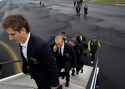 Valter Birsa and Miso Brecko at departure of Slovenia's National football team to Belfast, Northern Ireland for EURO 2012 Quaifications game between National teams of Slovenia and Northern Ireland, on March 28, 2011, at Airport Edvard Rusjan, Maribor, Slovenia.  (Photo by Vid Ponikvar / Sportida)