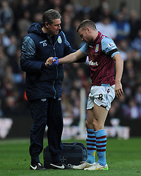 Aston Villa's Tom Cleverley leaves the field after picking up an injury.  - Photo mandatory by-line: Harry Trump/JMP - Mobile: 07966 386802 - 21/03/15 - SPORT - FOOTBALL - Barclays Premier League - Aston Villa v Swansea City - Villa Park, Birmingham, England.