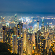 View of Hong Kong Island and Kowloon from Victoria Peak.
