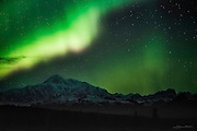 [Currently 1 of 33 sold]<br /> <br /> Denali (Mt. McKinley) under the aurora borealis... I've been waiting a long time to capture this! It was a long night: 5 hours of driving, a few hours of waiting for the lights to show, and a few moments of sheer joy when they burst into life over the tallest mountain in North America. It was worth the wait.
