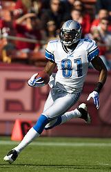 Dec 27, 2009; San Francisco, CA, USA;  Detroit Lions wide receiver Calvin Johnson (81) during the first quarter against the San Francisco 49ers at Candlestick Park. San Francisco defeated Detroit 20-6.