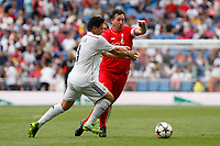 Real Madrid´s Contreras and Liverpool´s Fowler during 2015 Corazon Classic Match between Real Madrid Leyendas and Liverpool Legends at Santiago Bernabeu stadium in Madrid, Spain. June 14, 2015. (ALTERPHOTOS/Victor Blanco)