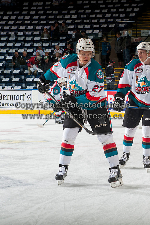 KELOWNA, CANADA - APRIL 7: Calvin Thurkauf #27 of the Kelowna Rockets warms up with the puck against the Portland Winterhawks on April 7, 2017 at Prospera Place in Kelowna, British Columbia, Canada.  (Photo by Marissa Baecker/Shoot the Breeze)  *** Local Caption ***