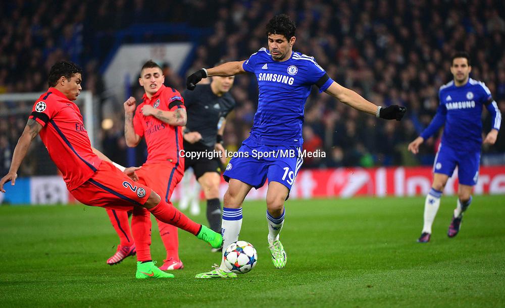 Thiago SILVA / Diego COSTA - 11.03.2015 - Chelsea / Paris Saint Germain - 1/8Finale retour Champions League<br /> Photo : Dave Winter / Icon Sport