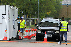 © Licensed to London News Pictures. 16/09/2020. London, UK. A car arrives at Lee Valley Athletics Centre in Edmonton, north London for a COVID19 test. The Government is to publish plans to ration the coronavirus test over the coming days as members of public have complained of being unable to access to COVID19 testing. Photo credit: Dinendra Haria/LNP